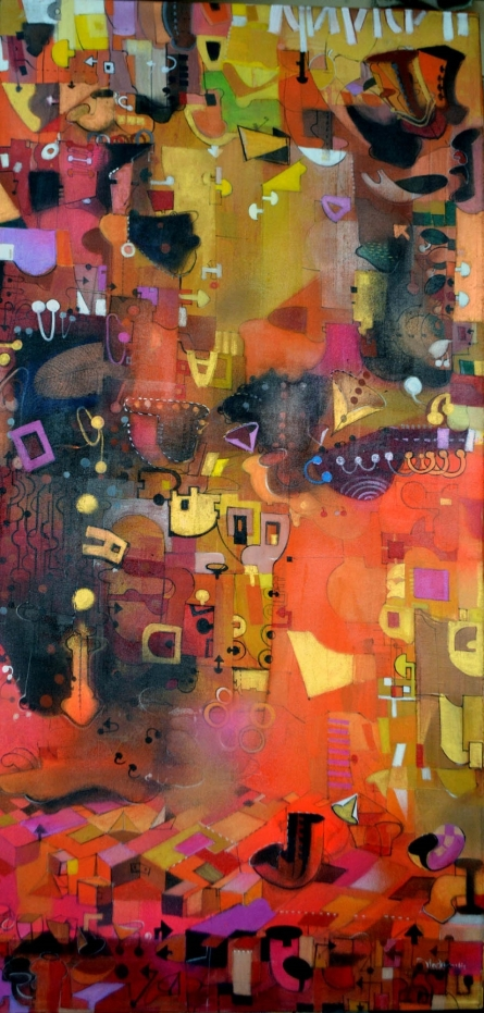 Figurative Acrylic Art Painting title 'Urban Phulkari 3' by artist Madan Lal
