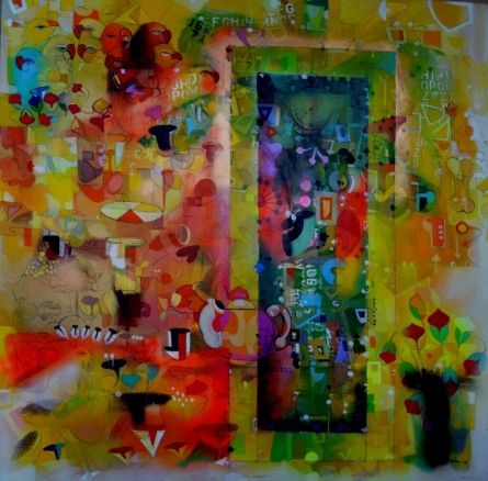 Madan Lal | Acrylic Painting title Urban Phulkari 4 on Canvas | Artist Madan Lal Gallery | ArtZolo.com