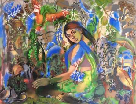 Figurative Acrylic Art Painting title 'In Tune With Nature' by artist Anjani Reddy