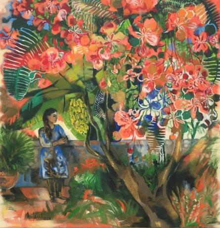Figurative Acrylic Art Painting title 'The Gulmohar Tree' by artist Anjani Reddy