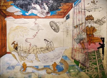 contemporary Mixed-media Art Painting title 'Covid 19 Quarantine' by artist Dasarath Das