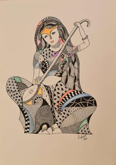 Seascape Pen Art Drawing title 'Meera Bai' by artist Sakshi Baranwal