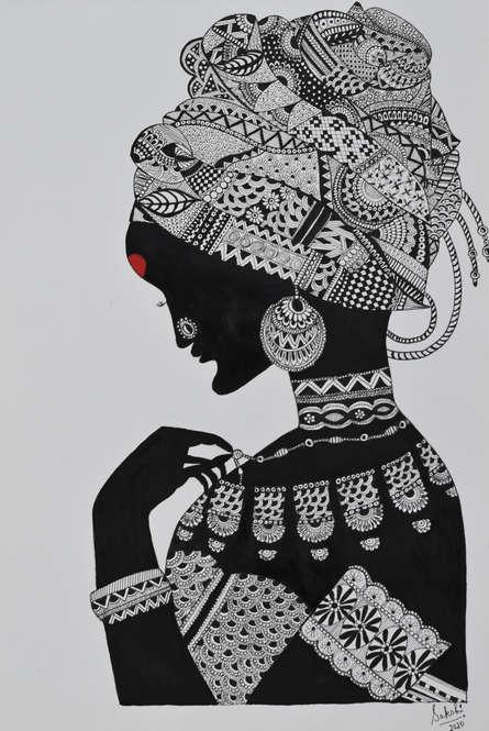 Portrait Pen-ink Art Drawing title 'African Tribal Lady' by artist Sakshi Baranwal