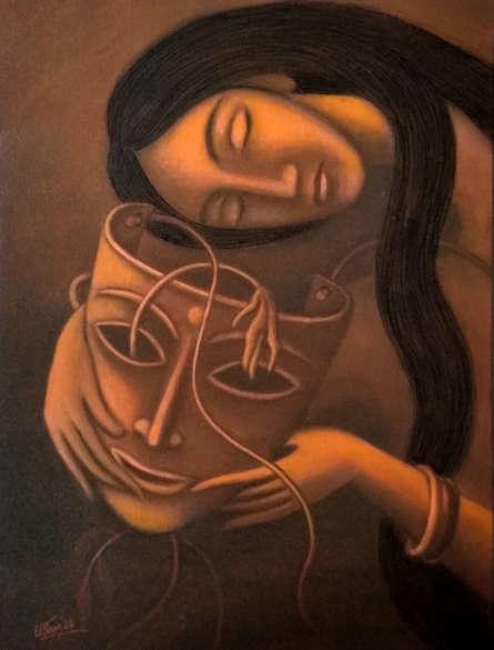 Figurative Mixed-media Art Painting title 'Broken Dream' by artist Uttam Bhattacharya