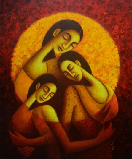 Figurative Acrylic Art Painting title Circle Of Love by artist Uttam Bhattacharya