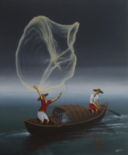 Figurative Acrylic Art Painting title Dream Catcher by artist Uttam Bhattacharya