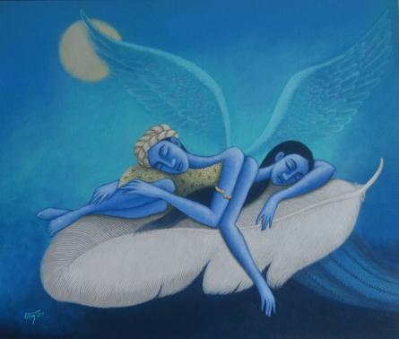 Figurative Acrylic Art Painting title Dream Love 1 by artist Uttam Bhattacharya
