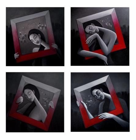 Figurative Acrylic Art Painting title Framed Dream Collage by artist Uttam Bhattacharya