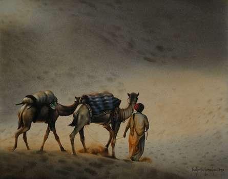 Figurative Watercolor Art Painting title Camael Safari 3 Rajasthan Series. Size- by artist Sudipta Karmakar