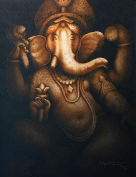 Religious Watercolor Art Painting title Ganesha - 1. Water Colour On Paper. Size by artist Sudipta Karmakar