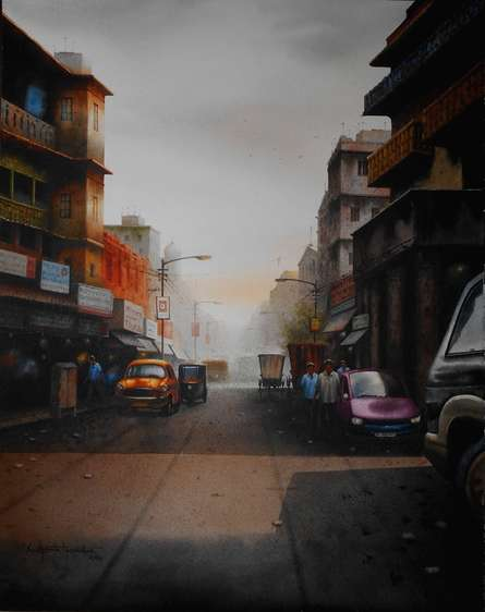 Cityscape Watercolor Art Painting title Kolkata11.size - 18x 23. Medium Water Co by artist Sudipta Karmakar