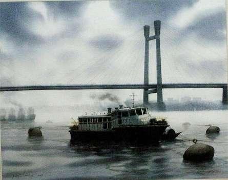 Seascape Watercolor Art Painting title Kolkata15. Size - 22x27. Water Color On by artist Sudipta Karmakar