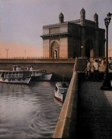Cityscape Watercolor Art Painting title 'Mumbai-6.' by artist Sudipta Karmakar