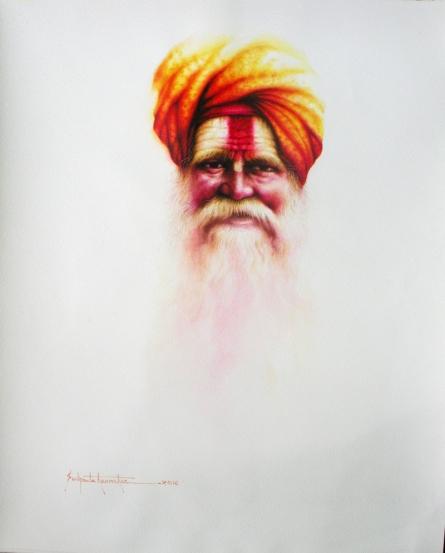 Portrait Watercolor Art Painting title 'Sadhu Series -vi.' by artist Sudipta Karmakar