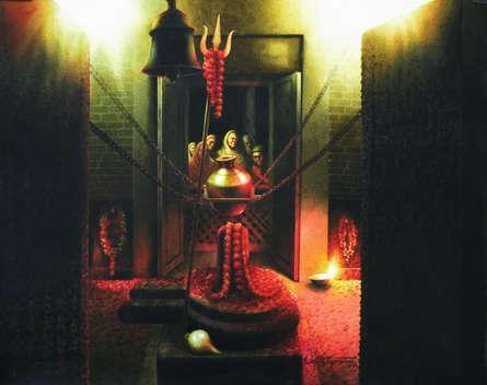 Religious Watercolor Art Painting title 'Shiva' by artist Sudipta Karmakar