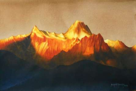 Landscape Watercolor Art Painting title Sunrise Over The Kanchenjunga. Size - 16 by artist Sudipta Karmakar