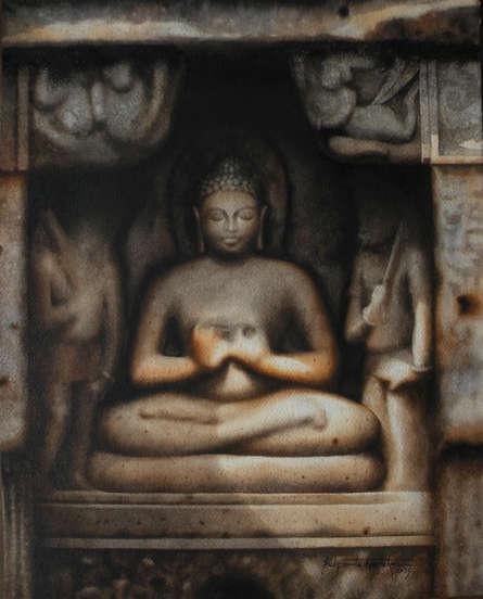 Religious Watercolor Art Painting title 'Budhdha.' by artist Sudipta Karmakar