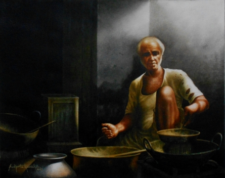 Figurative Watercolor Art Painting title Title - Indian Village Chef. Size- 18x23 by artist Sudipta Karmakar