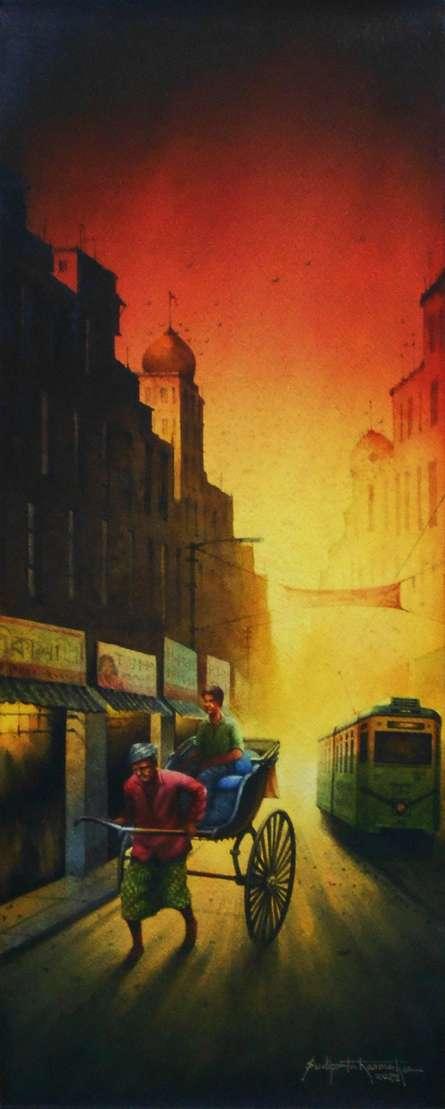 Cityscape Watercolor Art Painting title Kolkata Series 41 by artist Sudipta Karmakar