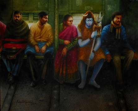 Figurative Watercolor Art Painting title Title - Who Is Going With Us Bahuroopi - by artist Sudipta Karmakar