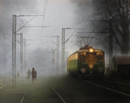 Transportation Watercolor Art Painting title 'Train In Foggi Morning-3.' by artist Sudipta Karmakar