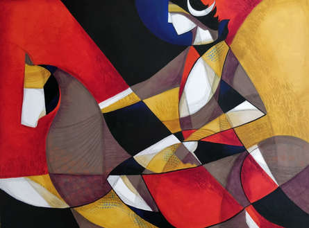Religious Mixed-media Art Painting title 'Devotional Ride' by artist Satyendra Rane