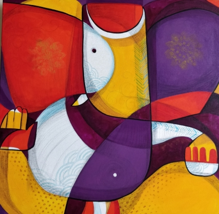 Religious Mixed-media Art Painting title 'Ganesha' by artist Satyendra Rane