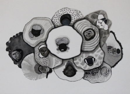 contemporary Ink Art Drawing title 'Untitled 9' by artist Hema Mhatre