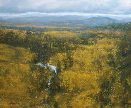 Landscape Oil Art Painting title Gold And Silver by artist Avishkar Vispute
