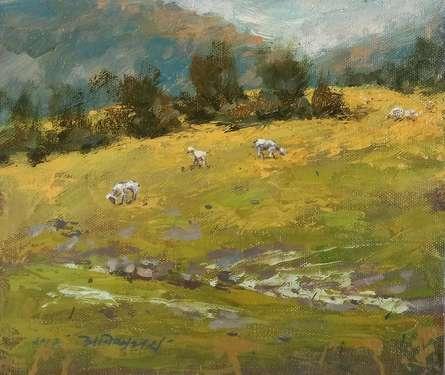 Landscape Oil Art Painting title Golden Fodder by artist Avishkar Vispute