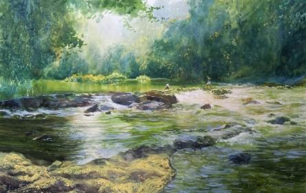 Figurative Watercolor Art Painting title 'Joy Of Water' by artist Avishkar Vispute