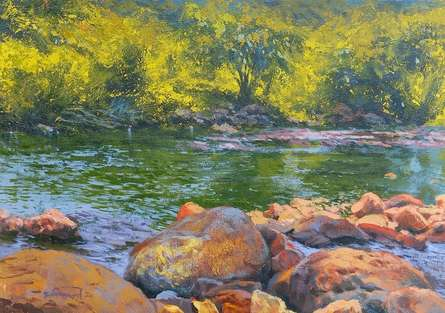 Nature Acrylic Art Painting title Magic Of Light by artist Avishkar Vispute