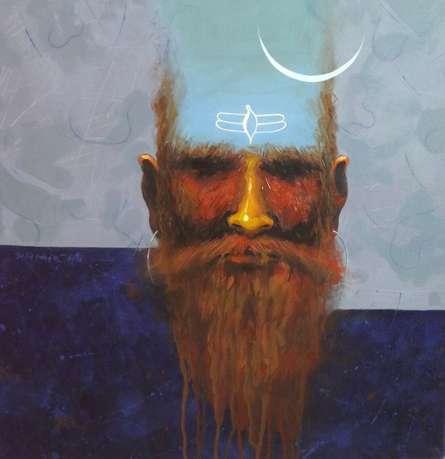 Religious Acrylic Art Painting title Mahadev by artist Avishkar Vispute