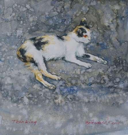 Animals Watercolor Art Painting title Thinking by artist Avishkar Vispute