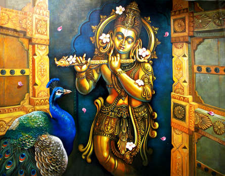 Religious Acrylic Art Painting title 'Krishna 1' by artist Sudip Routh