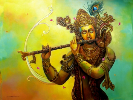 Religious Acrylic Art Painting title 'Krishna 2' by artist Sudip Routh