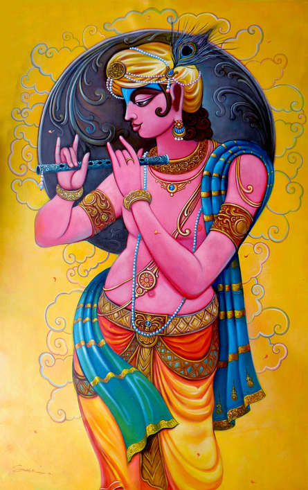 Religious Acrylic Art Painting title 'Krishna 3' by artist Sudip Routh