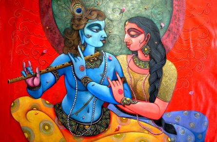 Religious Acrylic Art Painting title 'Radha Krishna' by artist Sudip Routh