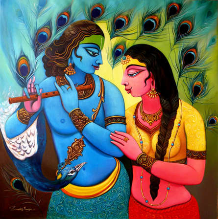 Religious Acrylic Art Painting title 'Radha Krishna 2' by artist Sudip Routh