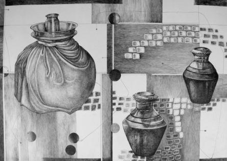 Still-life Ink Art Drawing title 'Shadow In Dark' by artist Satish Multhalli