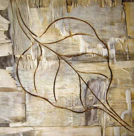 Somen Debnath | Mixed-media Painting title Leafy Wood III on wood | Artist Somen Debnath Gallery | ArtZolo.com