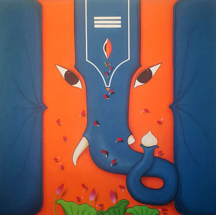 Religious Acrylic Art Painting title 'Ganesha' by artist Nitin Ghangrekar
