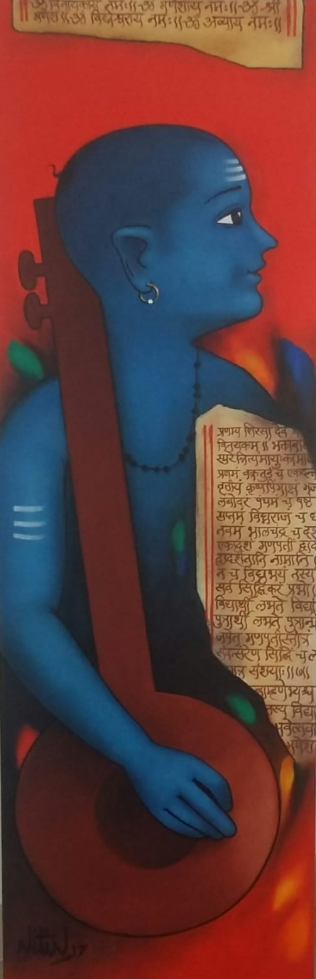 Figurative Acrylic Art Painting title 'Playing Tambora' by artist Nitin Ghangrekar