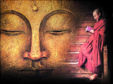 Religious Oil Art Painting title 'Buddha And Monk Praying' by artist Shyam Verma