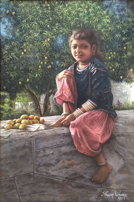 Figurative Oil Art Painting title 'Earning For Living' by artist Shyam Verma