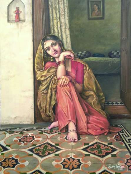Figurative Oil Art Painting title 'Eternal Wait Of Newly Wedde Girl' by artist Shyam Verma