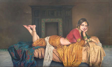 Figurative Oil Art Painting title 'Lost In Thoughts' by artist Shyam Verma