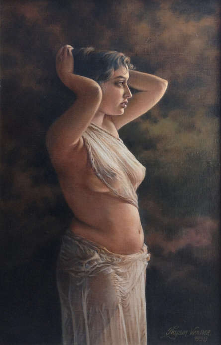 Nude Oil Art Painting title 'The Drenched Girl' by artist Shyam Verma