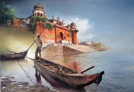 Cityscape Oil Art Painting title 'The New Prayag Raj' by artist Shyam Verma