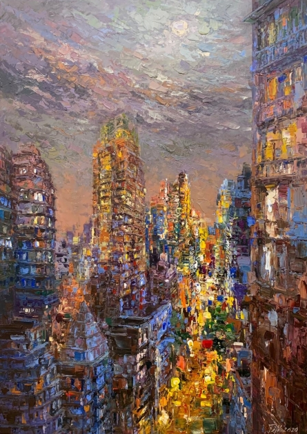 Cityscape Acrylic Art Painting title 'Untitled 1' by artist Tejinder Kanda